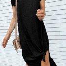 Black Casual Short Sleeve T Shirt Midi Dress with High Splits