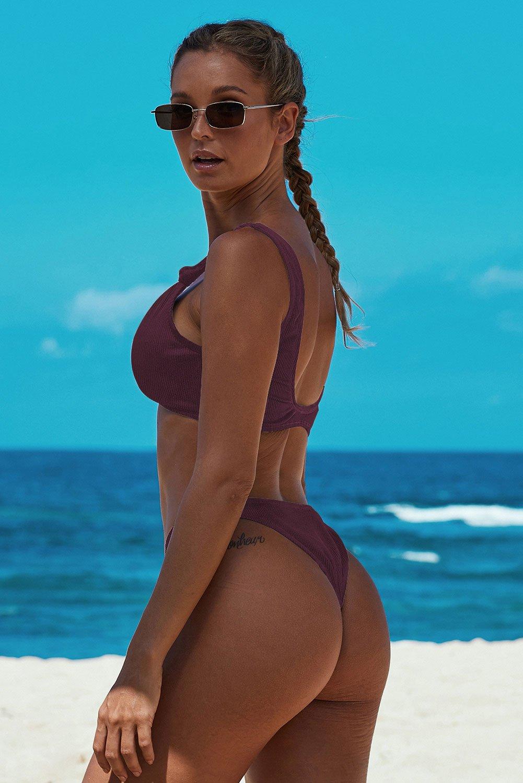 Fuchsia Knotted Two-piece Bikini Swimsuit