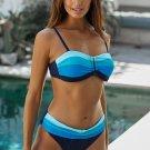 Blue Gradient Color Block Push up Bikini Swimwear