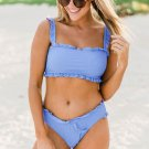 Sky Blue Flounced Bandeau Bikini with Straps