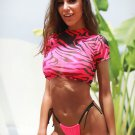 3pcs Rose Strings Bikini Set with Camo Crop Top