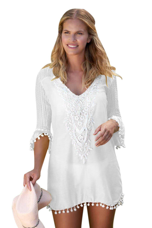 White Crochet Pom Pom Trim Beach Tunic Cover Up