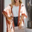 Orange Bohemian Print Loose Kimono Beach Cover Up