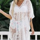 White Lace V Neck Beach Cover Up