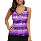Purple Print Tummy Control Sport Tankini Top