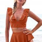 Orange Open Back Ruched Halter Top Shorts Tankini Set