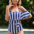 Blue Spaghetti Straps Striped Ruffled One Piece Swimsuit