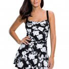 Monochrome Print Swimdress with Attached Shorts