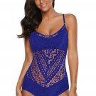 Blue Crochet Lace Halter Straps One Piece Swimsuit