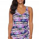 Purple Abstract Print Maillot Swimwear