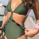 Green Ruffle One Piece Swimsuit