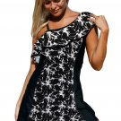 Monochrome Panel Accent 1pc Swim Dress with Shorts