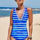 Blue Stripe Print Lattice Plunge One Piece Swimsuit