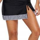 Zebra Striped Detail Split Skirt Swim Bottom