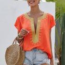 Orange Short Sleeve Printed Neck Shift Blouse