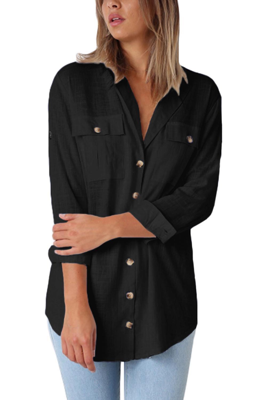 Black Buttoned Pockets Shawl Collar Linen Blouse