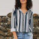 White Navy Striped Modern Women Shirt