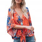 Orange Flowerlet Print Tie Front Kimono Sleeve Blouse