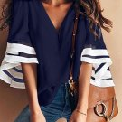 Blue Contrast Color Flare Sleeve V Neck Loose Blouse