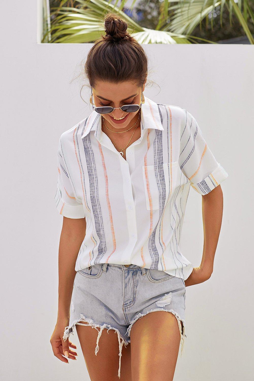 Orange V Neck Stripes Roll Up Sleeve Button Down Shirt