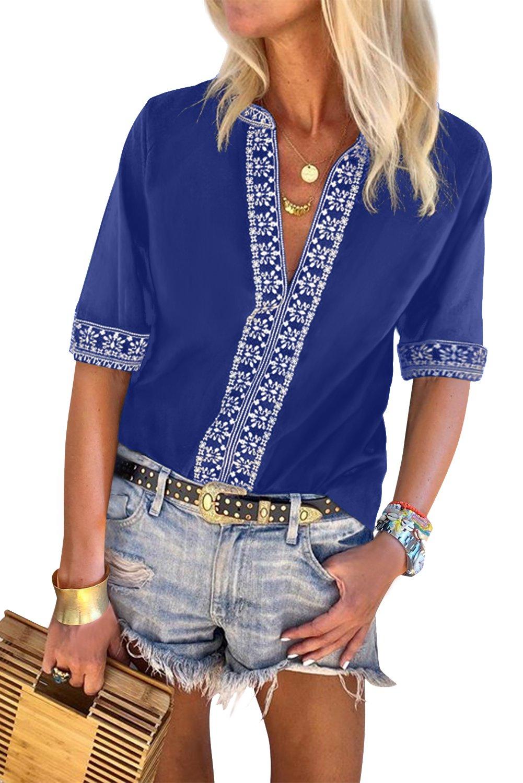 Blue Chic Boho V Neckline Half Sleeve Blouse