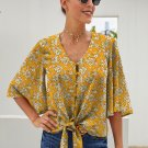 Yellow Floral Print Button Tie Top