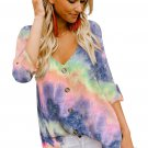 Blue V Neck Long Sleeve Tie-dye Blouse With Buttons Closure