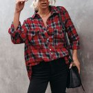Red Cotton Blend Plaid Buttoned Shirt with Bust Pockets