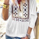 White 3/4 Sleeves Embroidered Pattern Pleated Blouse
