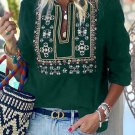 Green 3/4 Sleeves Embroidered Pattern Pleated Blouse