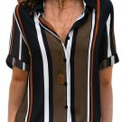 Black Brown Striped Short Sleeve Button Shirt