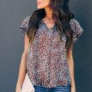 Brown V Neck Short Sleeve Fashion Print Fantasy Fluttering Blouse