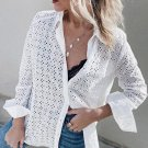 White Long Sleeve Eyelet Floral Pattern Hollow out Shirt