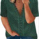 Green V Neck Lace Crochet Swiss Dot Short Sleeve Blouse