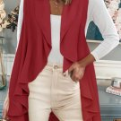 Red Sleeveless Cascade Open Front Draped Cardigan
