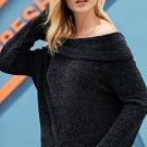Black Soft Velvet Knit Off Shoulder Sweater
