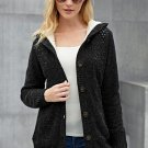 Fleece Hooded Black Button Down Cardigan Sweater