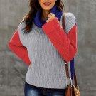 Blue Long Sleeve Turtleneck Knit Sweater
