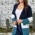 Blue White Color Block Velvet Chenille Sweater Cardigan