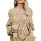 Khaki Off The Shoulder Winter Sweater