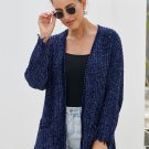 Blue Chenille Knit Destroyed Cardigan Sweater