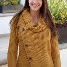 Mustard Buttoned Wrap Turtleneck Sweater