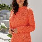 Orange Cozy Fall Popcorn Pullover Sweater