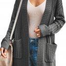 Dark Gray Shawl Neckline Long Sleeve Cardigan with Pocket