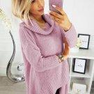 Pink Cowl Neck Handkerchief Hem Sweater