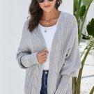 Gray Dolman Sleeve Open Front Knit Cardigan