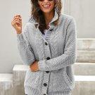 Gray Fur Hood Knit Sweater