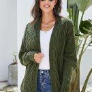 Green Dolman Sleeve Open Front Knit Cardigan