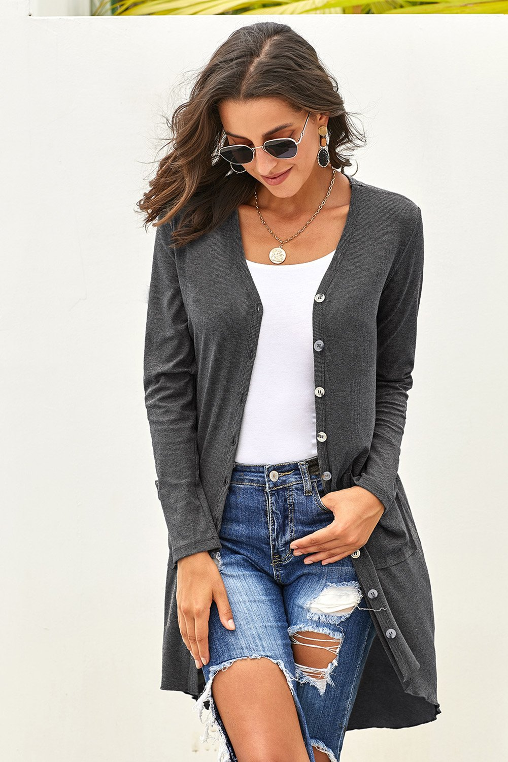 Gray Selected Button Down Pocketed High Low Cardigan