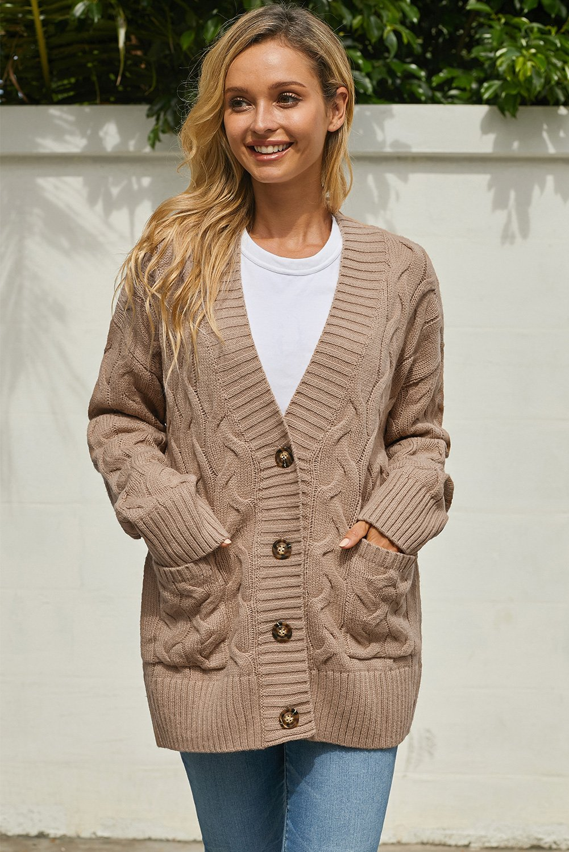 Khaki Open Front Button Down Knit Cardigan Coat